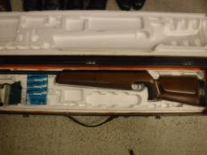 A J G Anschutz Match Model 250 .177 air rifle with cut away grip and bi pod in polystyrene lined