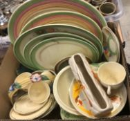 """Three boxes of assorted Clarice Cliff dinner wares, etc, to include Clarice Cliff """"Bizarre"""" pattern,"""