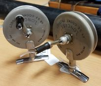 "A pair of S.E. Cooke ""Loncast"" side casting threadline reels 10.5 cm"
