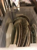 Eight boxes of assorted decorative plates and other china wares, together with a box of assorted