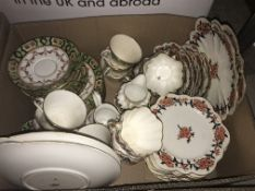 Six boxes of assorted decorative china wares to include transfer decorated dinner wares, Victorian