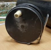 """A 1920's Hardy Perfect 31/8"""" Early Mark II fly reel with white ivorine handle and agate line guide"""