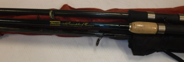 A collection of four assorted fishing rods to include a Shakespeare Quo Specimen rod, a