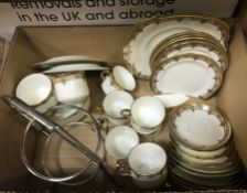 An Aldertons part tea set, together with a box containing assorted glass vases, two lustre jugs,