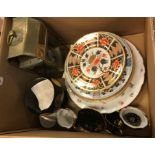 A pair of 19th Century English Imari pattern plates, together with a Chinese Imari palette plate,