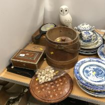A collection of various treen ware to include a vizagapatam sandal wood and pen work decorated