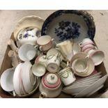 Three boxes of various china wares to include toilet jug, various tea wares,