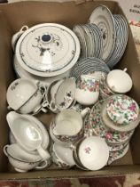 A box containing Royal Doulton Old Colony dinner wares including vegetable tureen and cover,