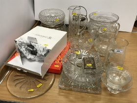 A collection of various cut glass wares to include flower head medallion decoration heavy cut glass