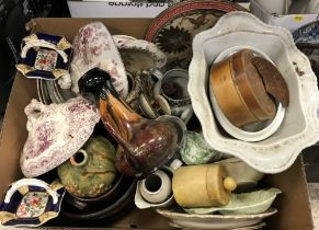 Four boxes of various china wares to include toilet jugs and bowl, various dinner wares,