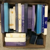 Four various boxes containing collectors plates by Wedgwood, Aynsley etc,