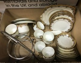 An Allertons part tea set, together with a box containing assorted glass vases, two lustre jugs,