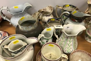 A collection of various mainly 19th Century English pottery including a Turner Patent pearl ware