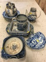 A collection of various 19th Century blue and white china including a pearl ware mug decorated with