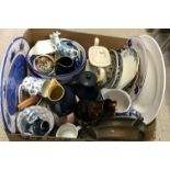 Three boxes of various china wares to include various Continental pottery bowls and dishes,