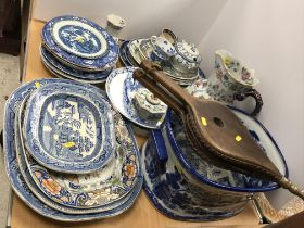 A collection of mainly blue and white china wares including pearl ware chinoiserie decorated ribbon