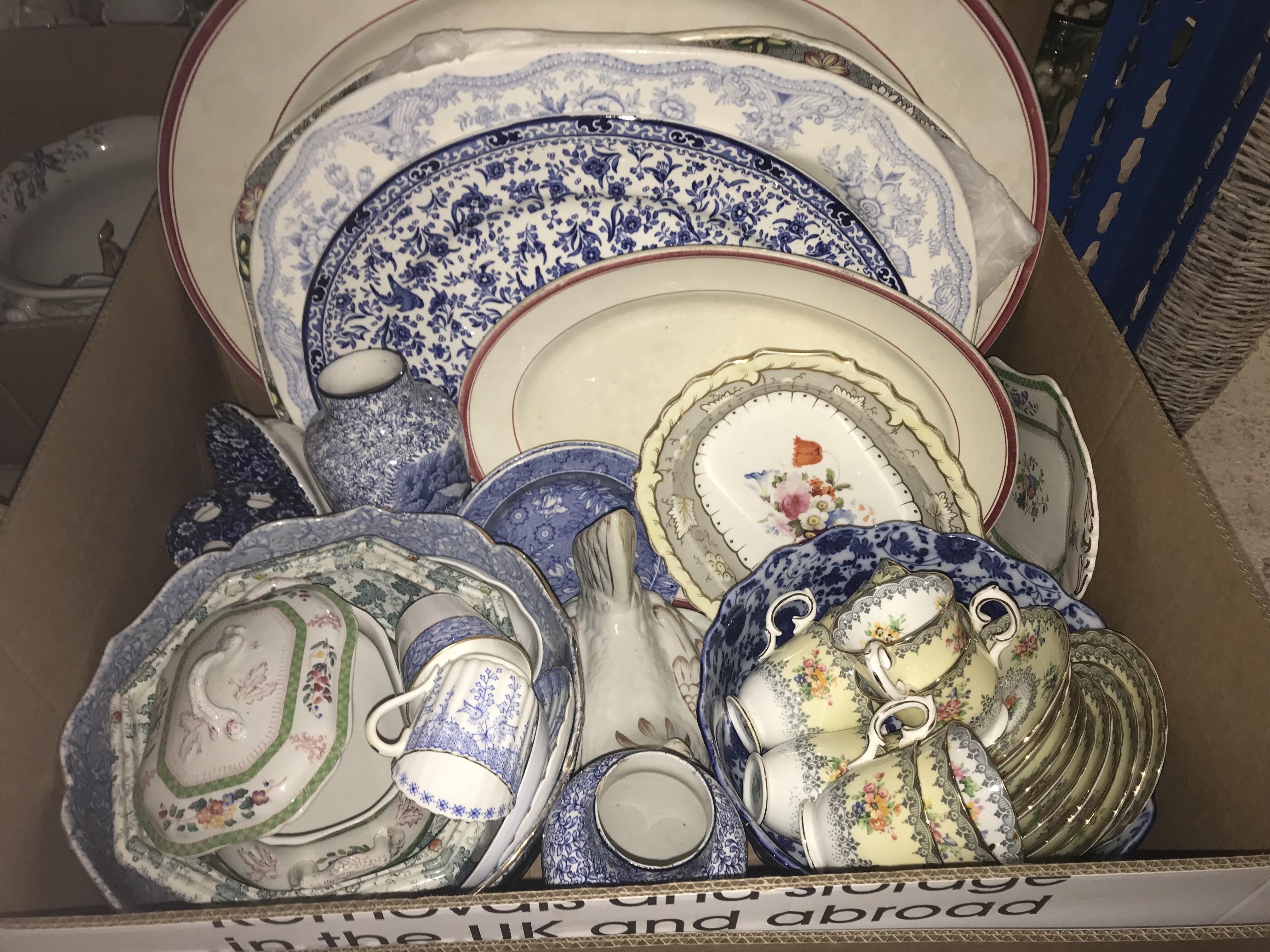 """A box containing a Royal Doulton """"Rondo"""" part tea service,"""