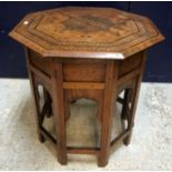 An early 20th Century Indian brass and inlaid octagonal occasional table by Kanhaya Lal Brij Lal