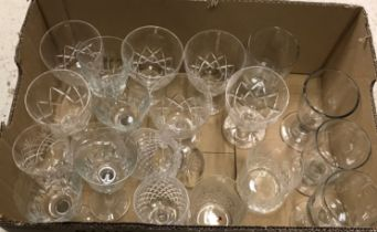 Five boxes of various cut and other glass drinking glasses, water jugs,
