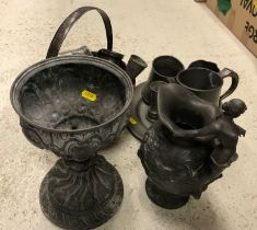 A collection of various metal ware to include a Charles Perron pewter water jug decorated in high