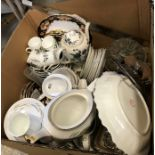 Three boxes of various china wares to include Royal Worcester Harvest Ring tea wares,