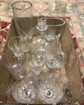 A collection of various glassware to include an Orrefors clear crystal vase designed by Edvin