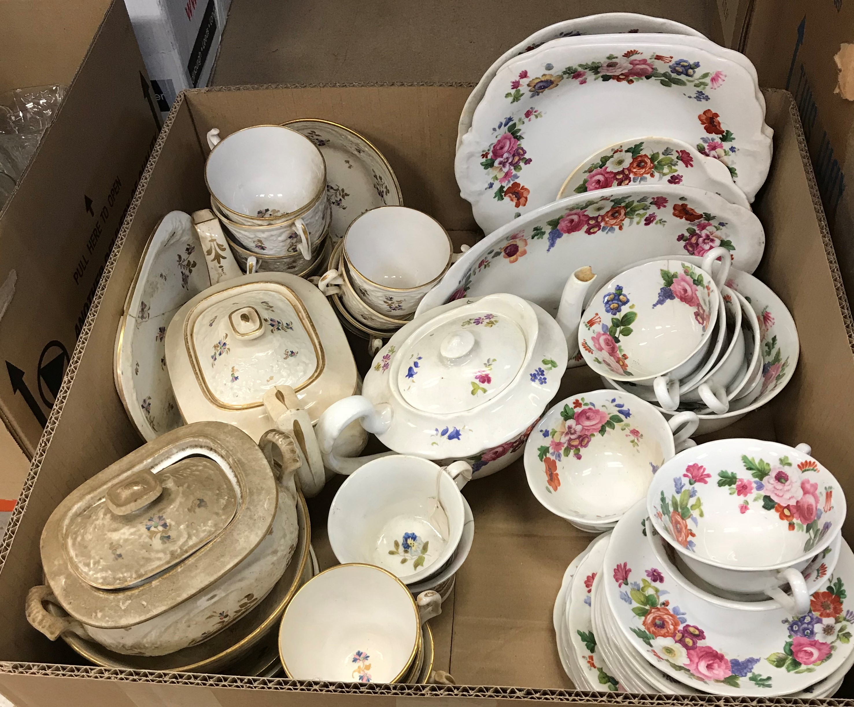 Two boxes of various tea and dinner wares to include floral transfer decorated part tea set,