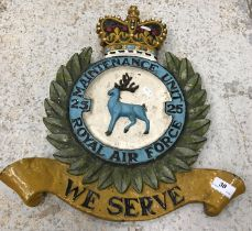 """A painted cast iron sign with crown and wreath inscribed """"Maintenance Unit 25 Royal Air Force - We"""