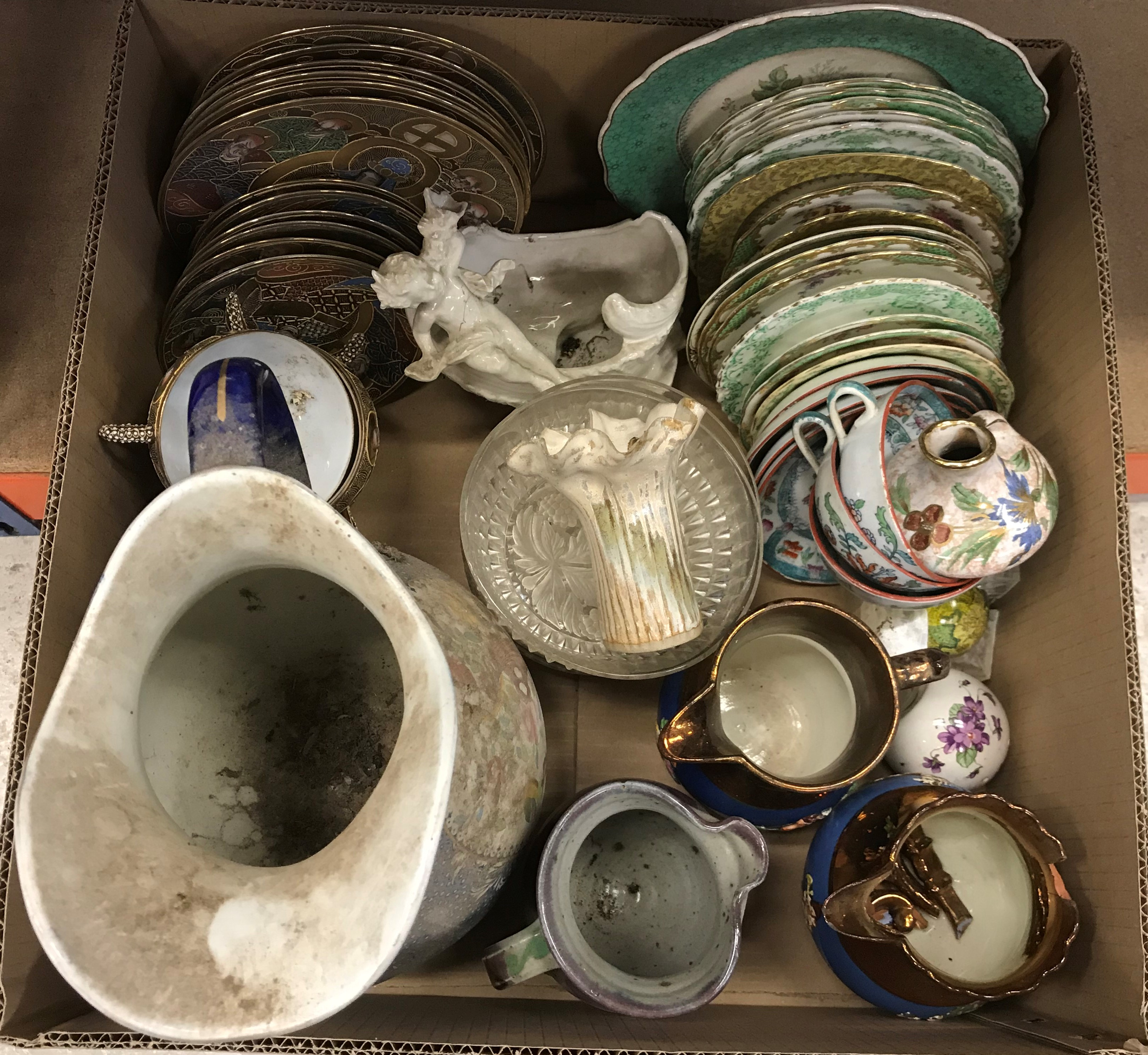 Three boxes of various china wares to include toilet jug, various tea wares, - Image 2 of 5