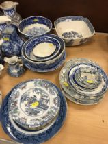 A large collection of blue and white pottery wares to include a late 18th / early 19th Century matt