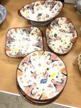 A 19th Century English glazed pottery Japan pattern dessert service comprising oval pedestal bowl,
