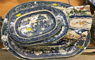 Nine various 19th Century blue and white meat platters including a Copeland and Garrett floral