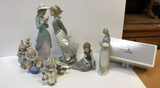 """A collection of Lladro figures to include three """"Pierrot"""" figures """"Having a ball"""" (05813), """""""