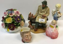 """A Royal Doulton figure group """"Lunchtime"""" (HN2485), Royal Doulton figurine """"Rose"""" (HN1368), Royal"""