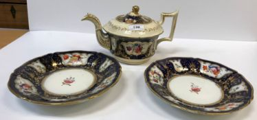A 19th Century Staffordshire pottery part tea set, royal blue banded and gilt lined with panels of