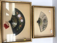 fA modern Japanese painted silk fan depicting figures and horse with script, together with a