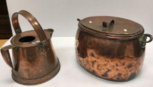 A Victorian copper water jug, Victorian oval coppe