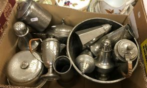 A collection of mid to late 20th Century pewter wa