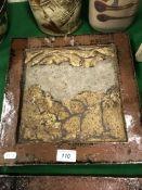 A set of five studio pottery glazed tiles, each de