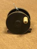 "A Hardy 2¾"" fly reel half ebonite 6.4 cm"