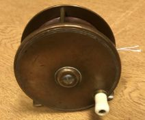 """An Oakes & Co. Limited of Madras 3½"""" bronze plate wind salmon fly reel 8.8 cm"""