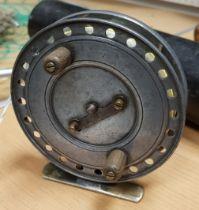 """A Homer """"Flick-em"""" centre pin reel, circa 1930 11.5 cm"""