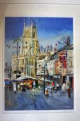 Limited edition (96 of 100) framed print of Cirencester Church & Market by mixed media artist