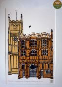 Limited edition woodcut print of Cirencester Parish Church-gifted by the artist,