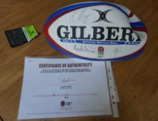 England Rugby 2020/2021 season ball, signed by England Rugby Men's Rugby squad,
