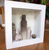 'Fragile' Still-life - White Frame, cast porcelain; tinted,