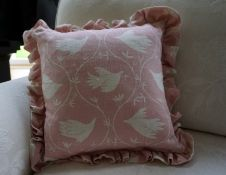 Designer cushion in Lily Pink linen fabric with frill-gifted by Vanessa Arbuthnott Fabrics