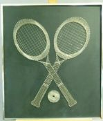 A pin and wire picture of crossed tennis racquets and ball on a black ground, c.1970s, 72cm x 63cm