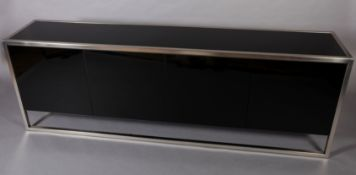 Belgo Chrom Design, a four door black glass and brushed steel sideboard, interior glass shelves,