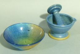 Jim Nelson, New Zealand, circular pottery bowl of tinted blue, purple, green and amber speckled
